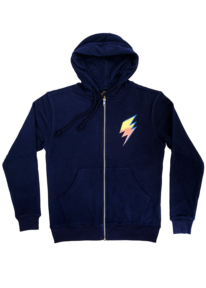 Boys Navy Thunderbolt Zip Up Hoodie