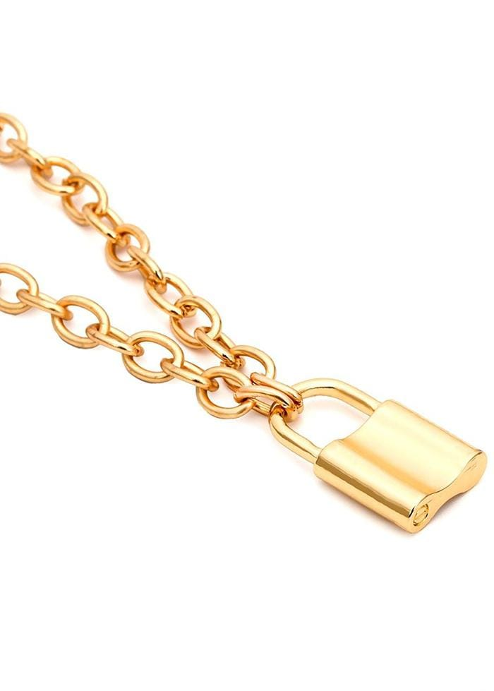 TeenzShop GOLD TONE PADLOCK NECKLACE