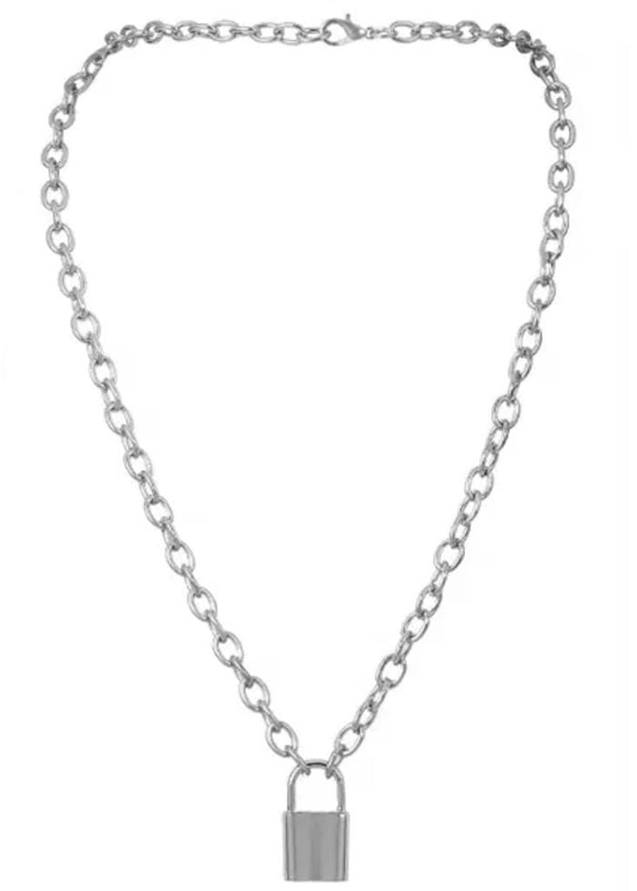 Silver Tone Mini Padlock Necklace-TeenzShop