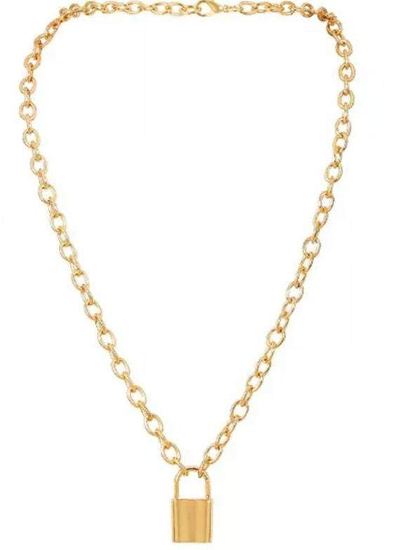 Gold Tone Padlock Necklace-TeenzShop