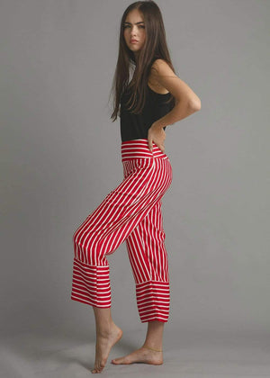 TeenzShop  Girls Red White Wide Leg Striped Trousers