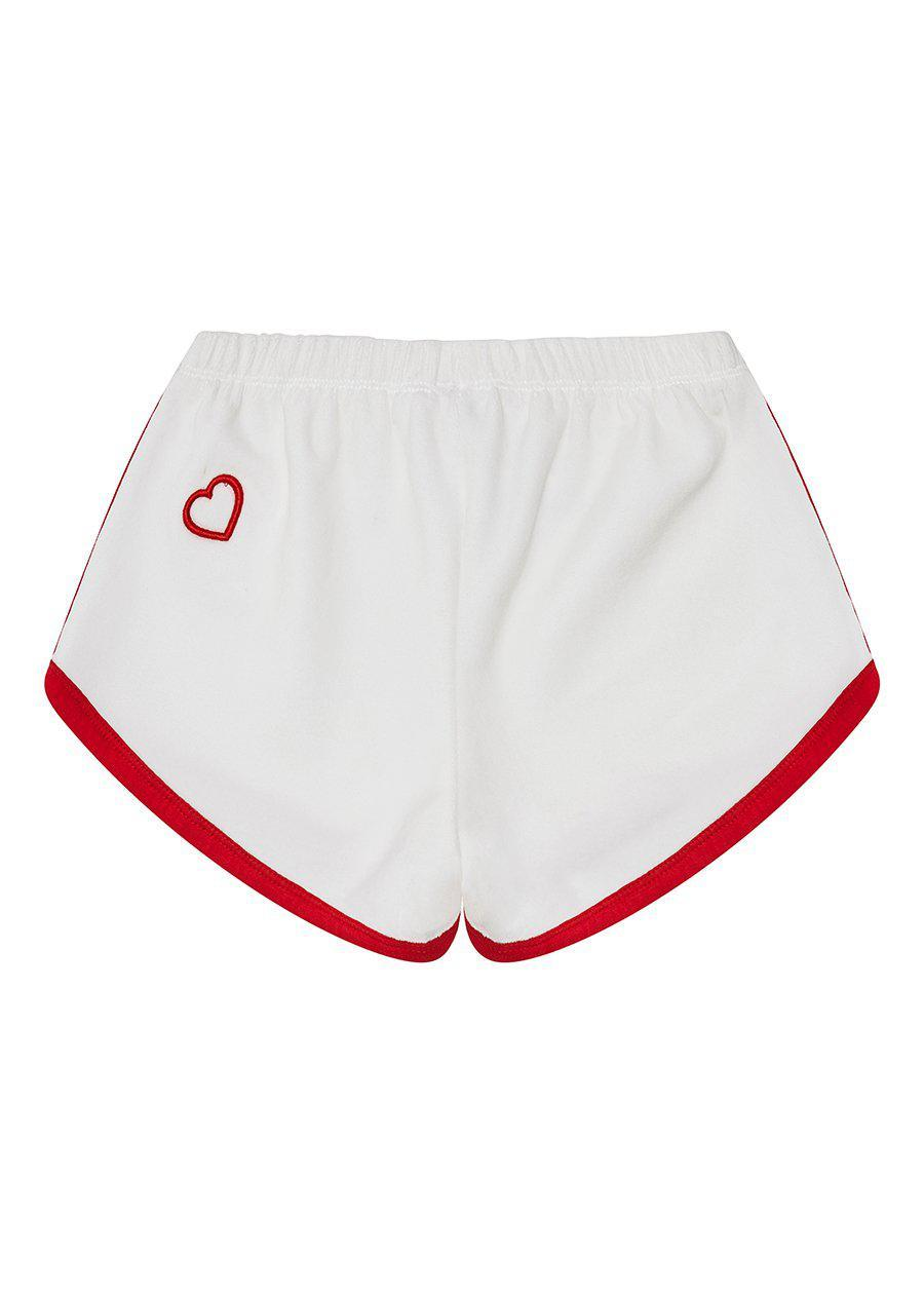 White Velour Runner Shorts