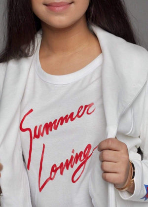 Teenzshop  Girls White Summer Loving Slogan T-shirt