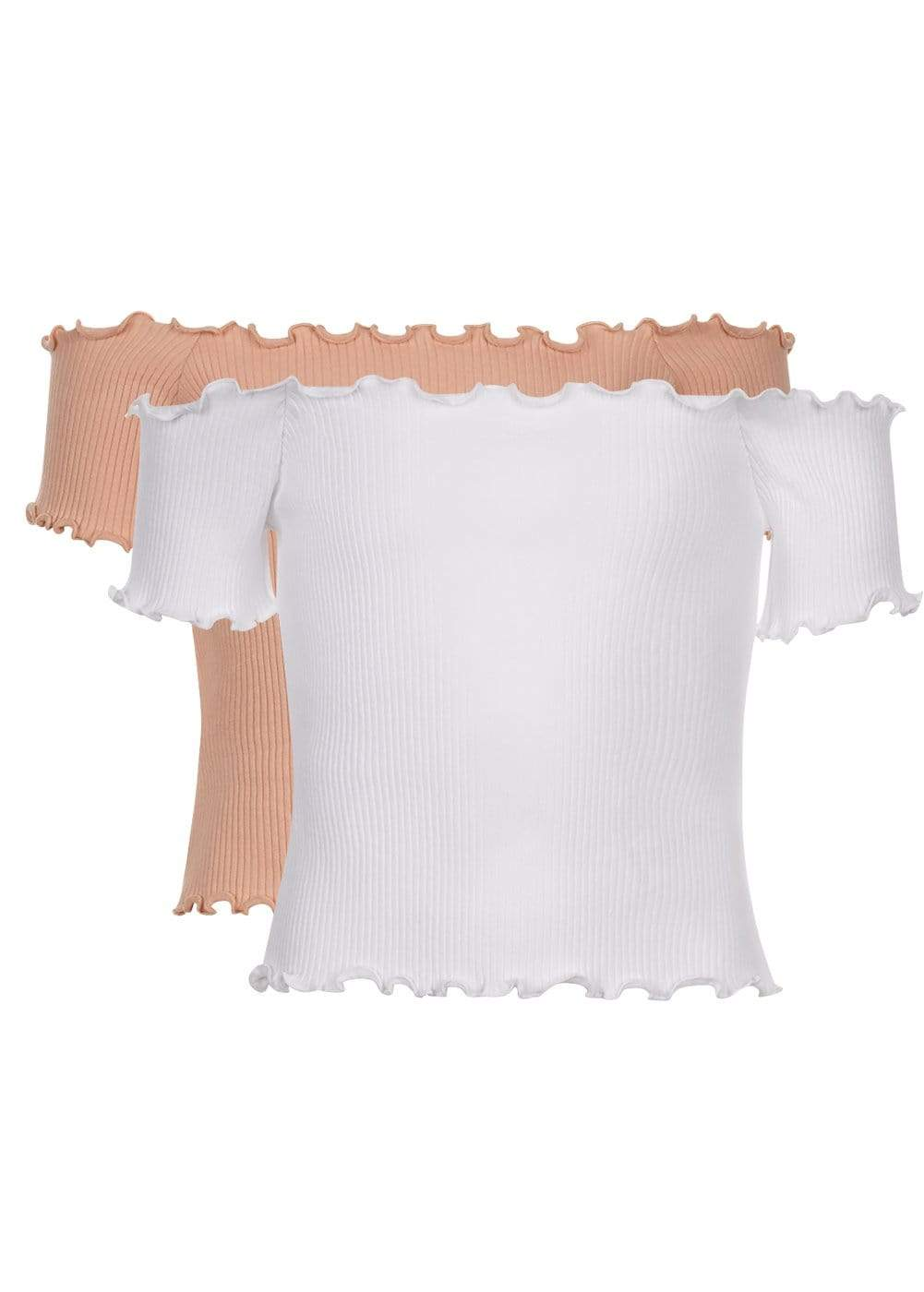 Teenzshop Girls Twin Pack Bardot Top Pink/White