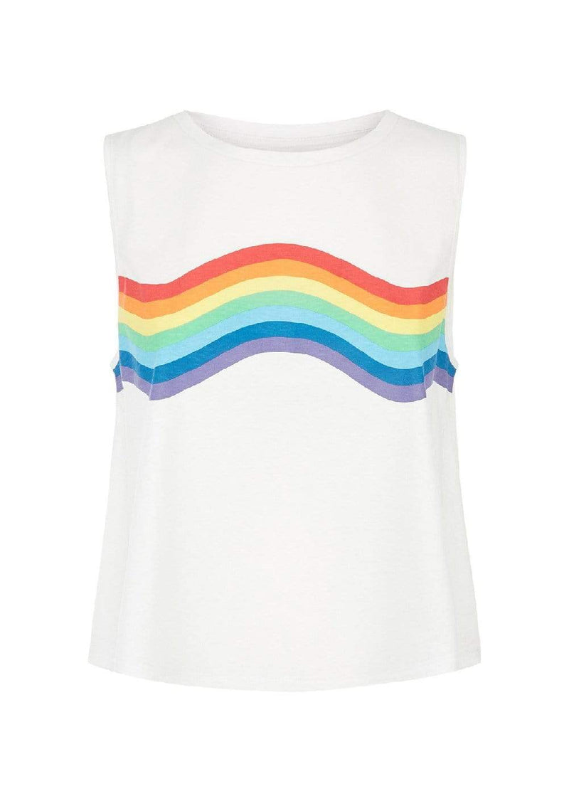 Teenzshop  Girls White Rainbow Tank Top