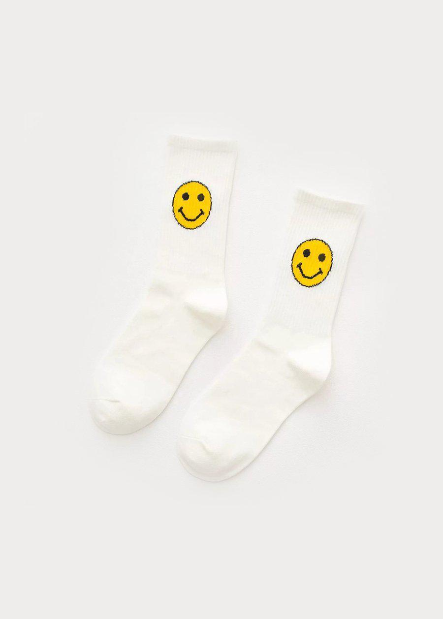 White Smiley Tube Socks-TeenzShop