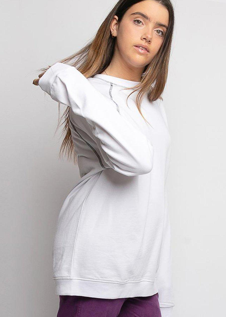 White Sweatshirt with Contrast Stitching