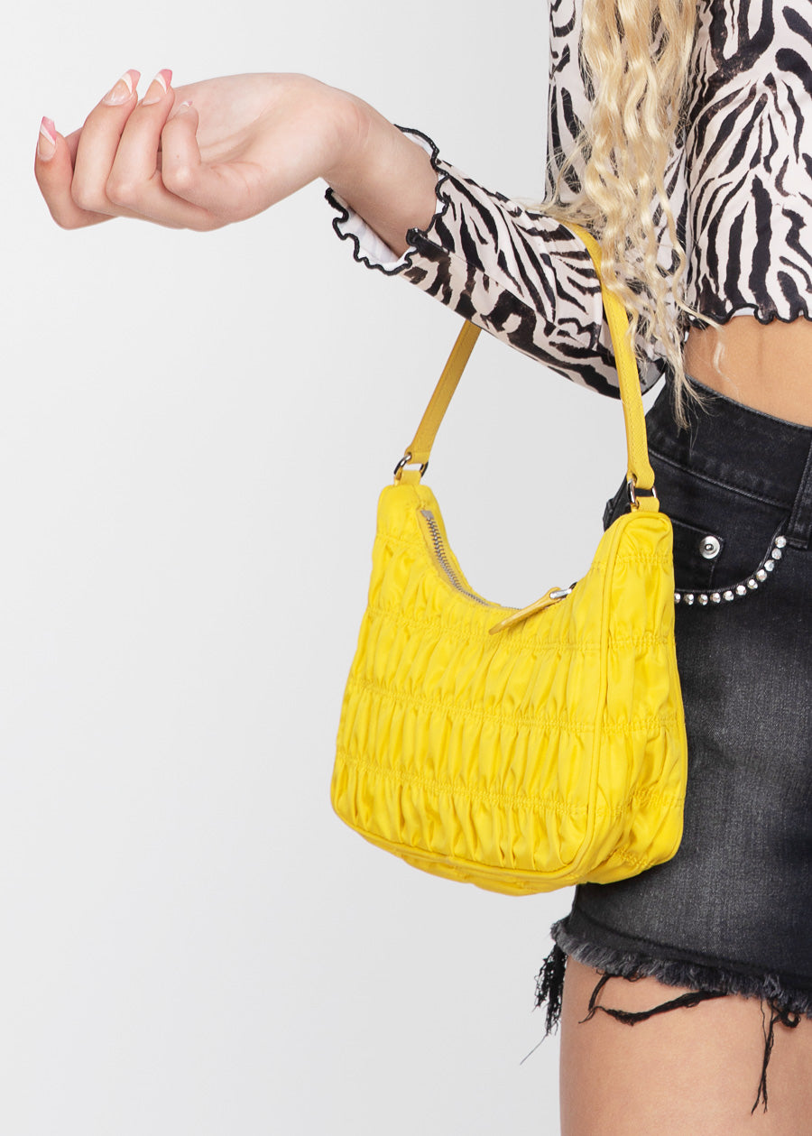 Yellow Ruched Nylon Shoulder Bags