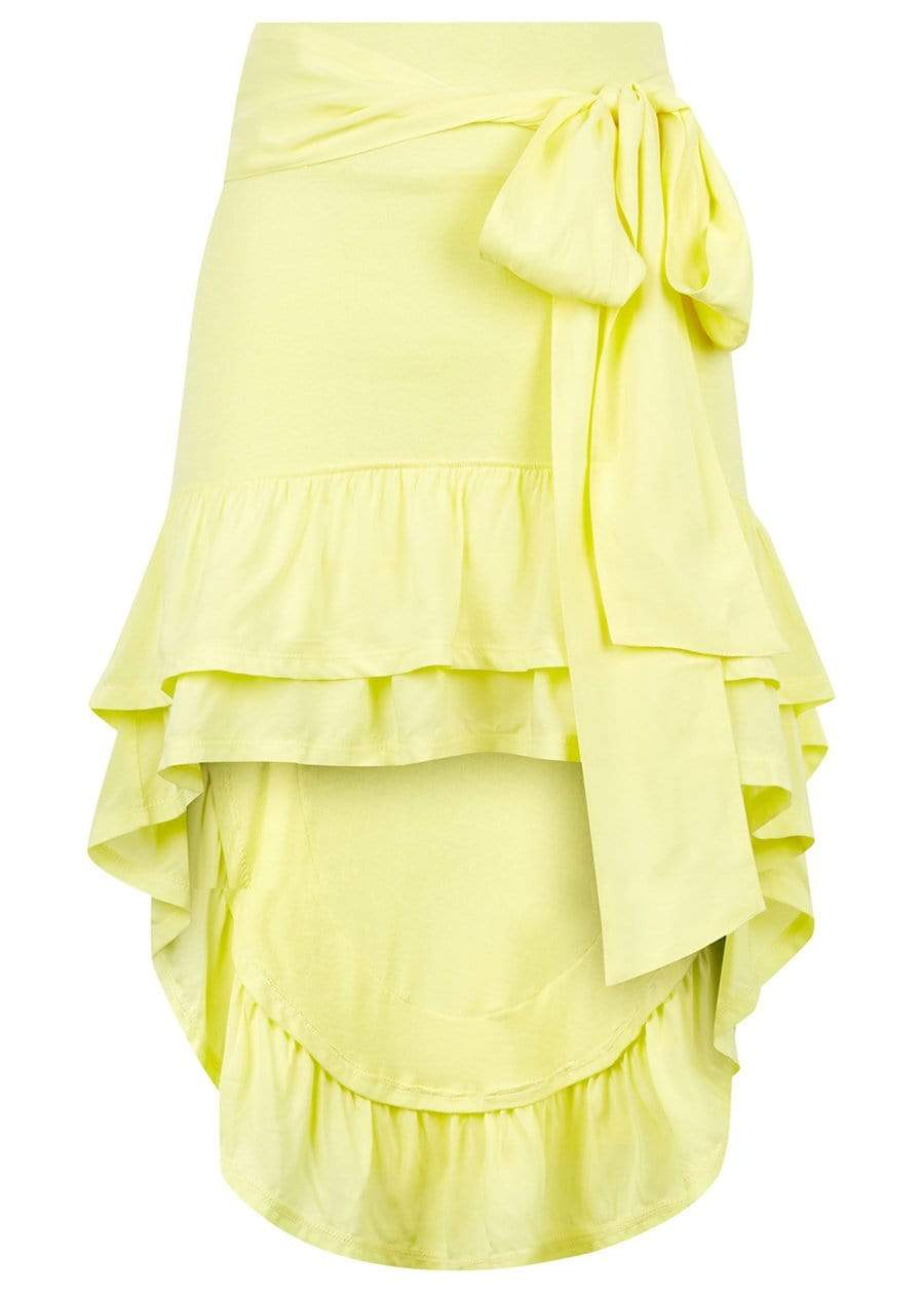 TeenzShop  Girls Yellow High-Low Frilled Asymmetric Beach Skirt