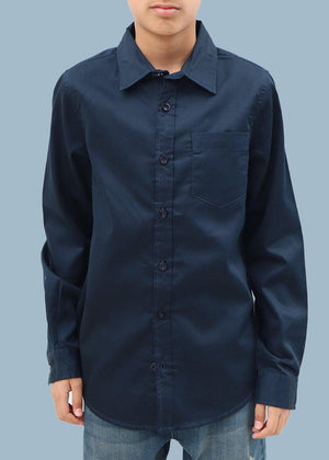 Boys Long Sleeve Navy Evening Shirt- SUSTAINABLE FABRIC