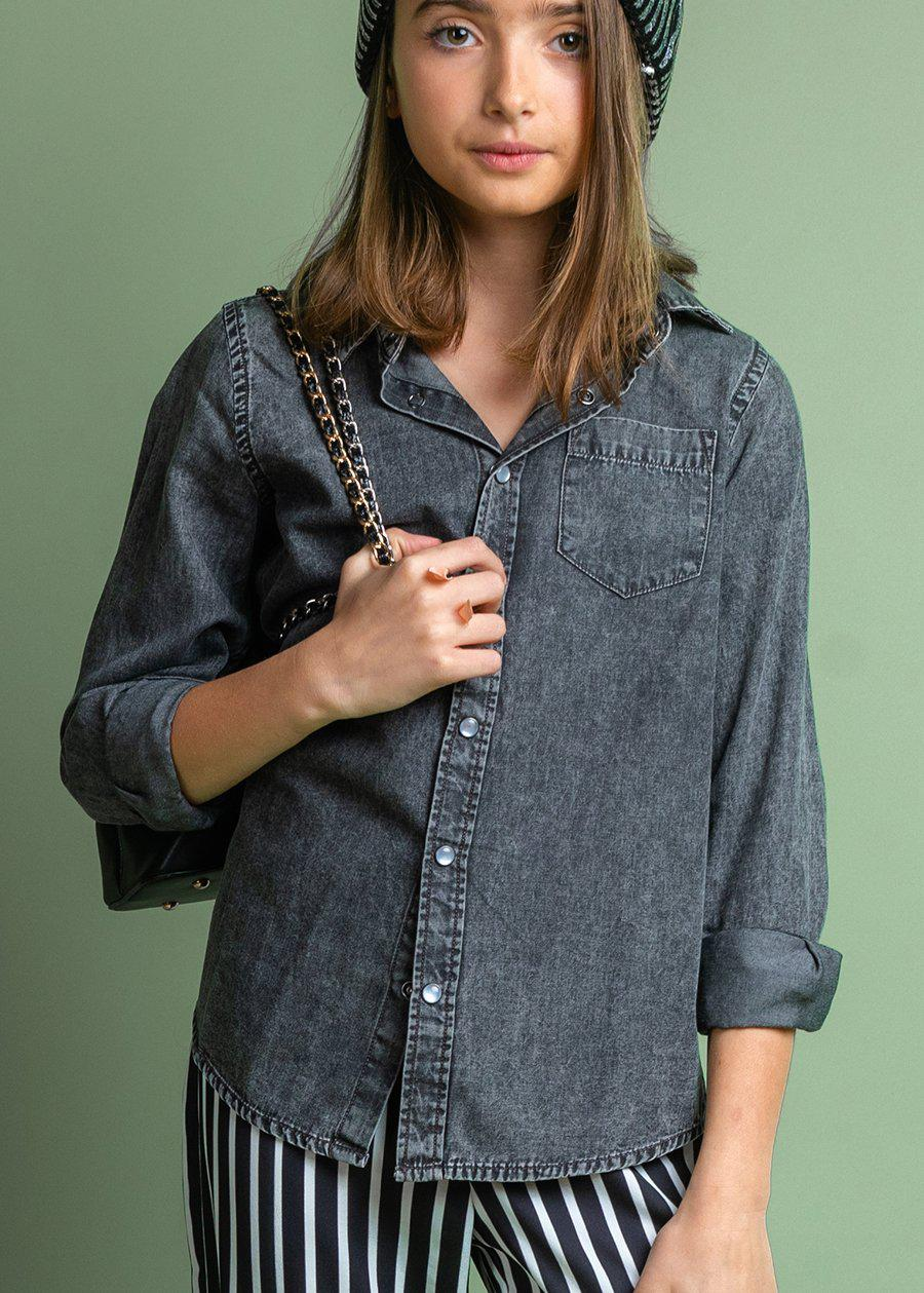 Girls Long Sleeve Grey Denim Shirt-TeenzShop