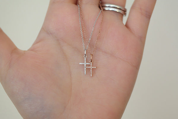 14K White or Rose Gold Diamond Cross Necklace - SDG by Grace