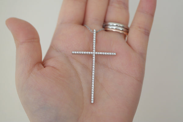 Sterling Silver Big Slim Cross Necklace - SDG by Grace