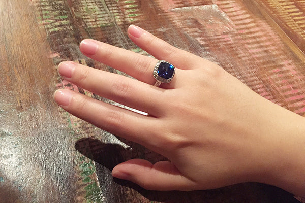 Sterling Silver Tanzanite Blue Square Ring - SDG by Grace