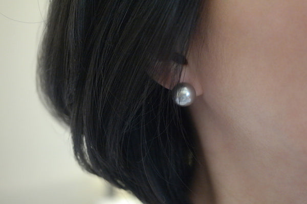 12mm Grey Pearl Earrings - SDG by Grace
