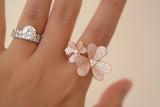 Sterling Silver Paired Clover Ring, Rose - SDG by Grace