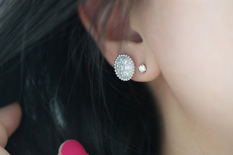 Sterling Silver Bubble Round Pave Stud Earrings - SDG by Grace