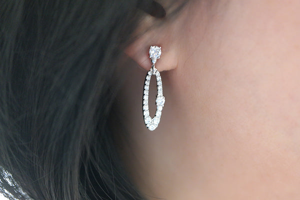 Sterling Silver Oval Hoop Drop Earrings