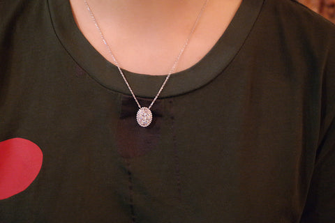 Sterling Silver Bubble Oval Pave Pendant Necklace - SDG by Grace