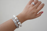 Pave Ball Centered 14mm Swarovski Pearl Bracelet - SDG by Grace