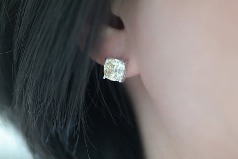 Sterling Silver Yellow Cushion Cut CZ Stud Earrings - SDG by Grace