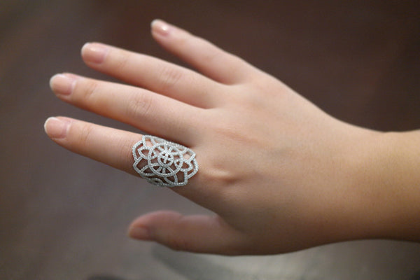 Sterling Silver Vintage Inspired Ring, White - SDG by Grace