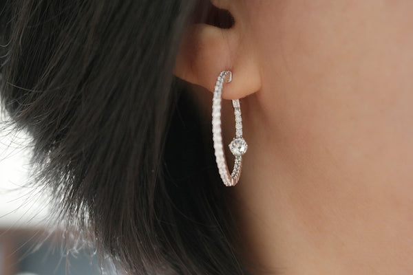 Sterling Silver CZ Accented Slim Crystal Hoop Earrings - SDG by Grace