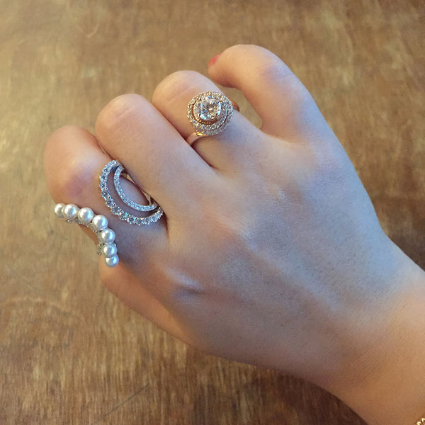 Sterling Silver Unbalanced Curved CZ and Pearl Ring