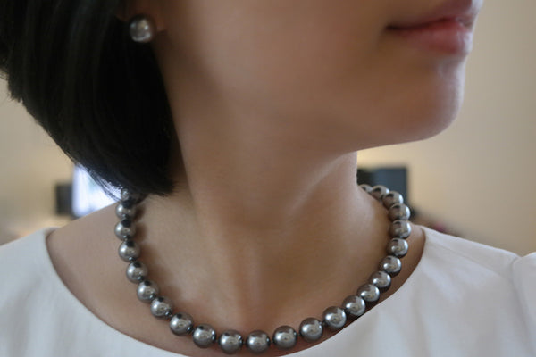 Grey Pearl Necklace, 12mm - SDG by Grace