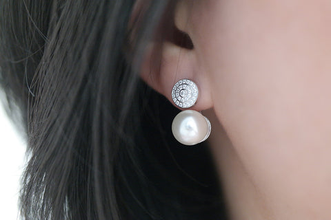Sterling Silver Pave Disc and Pearl Ear Jacket Earrings - SDG by Grace