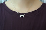Sterling Silver Three Triangle Crystal Bar Necklace