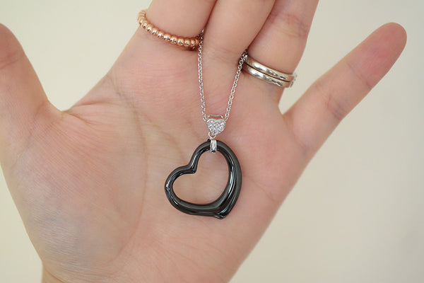 Sterling Silver Ceramic Open Heart Necklace - SDG by Grace