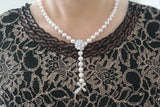 Flower Clasp Pearl Drop Necklace - SDG by Grace