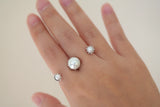 Sterling Silver Pearl Flower Two Finger Ring - SDG by Grace