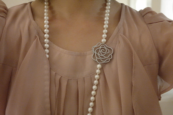 Big Rose Pearl Rope Necklace - SDG by Grace