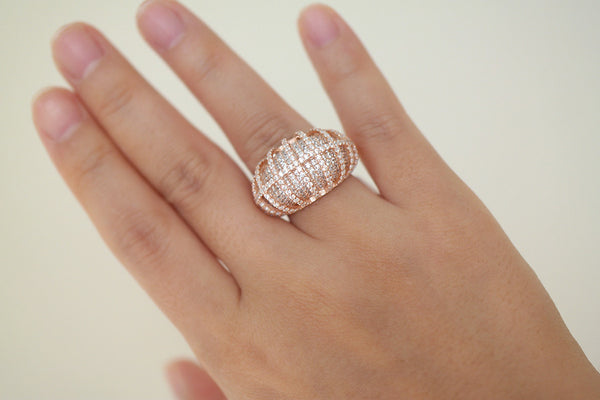 Sterling Silver Luxury Dome Pave Ring (4 Colors) - SDG by Grace