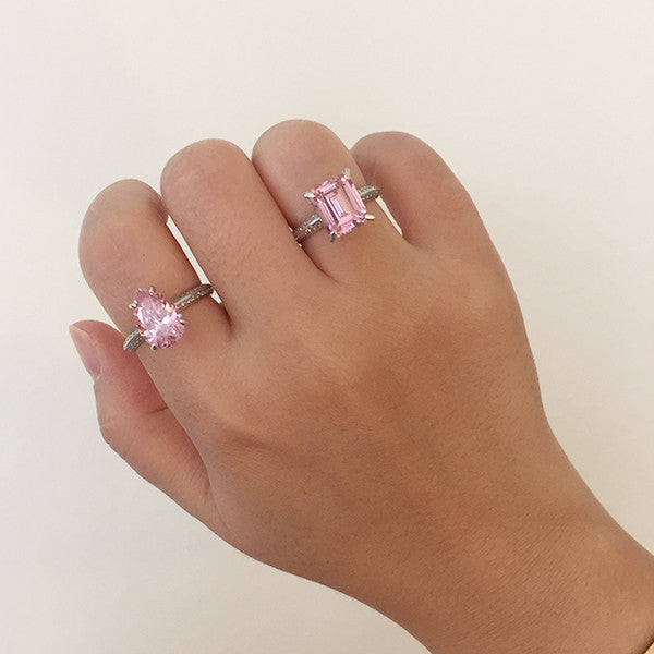 Sterling Silver Pear Cut Pink CZ Ring - SDG by Grace