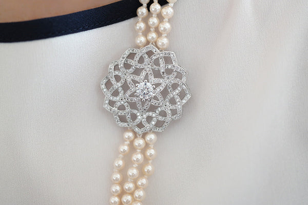 Three Strand Pearl Necklace - SDG by Grace