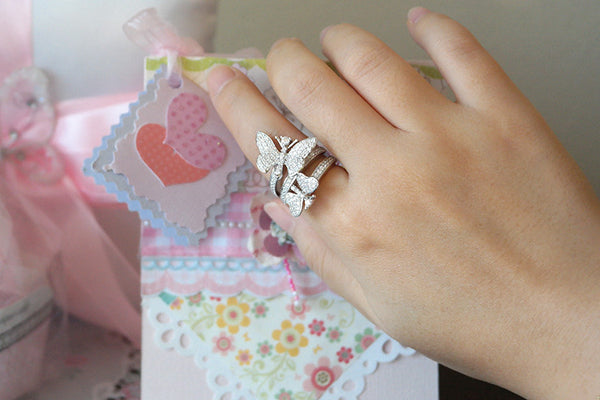 Sterling Silver Butterflies Ring, White - SDG by Grace
