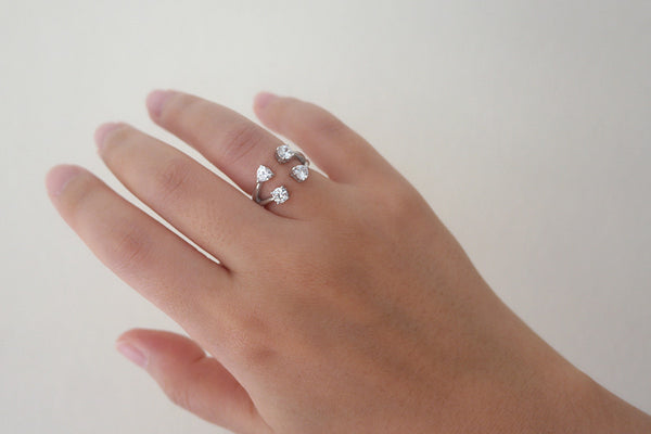Sterling Silver Four CZ Open Ring - SDG by Grace