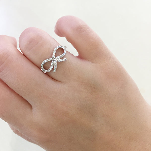 Sterling Silver Bow Pave Ring