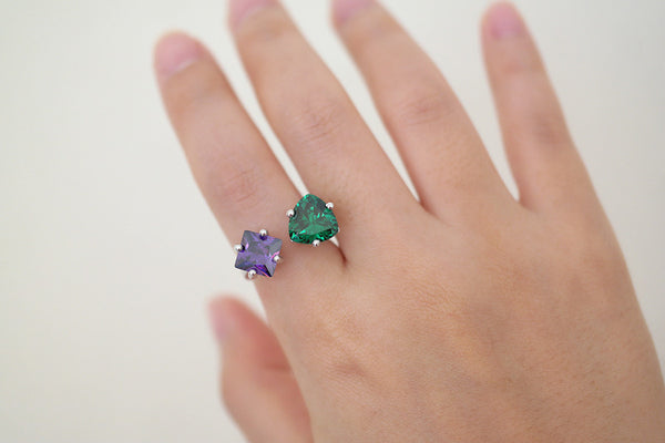 Sterling Silver Color CZ Open Ring (3 Colors) - SDG by Grace
