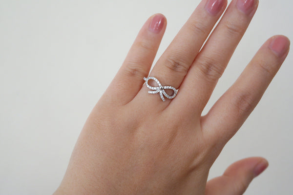 Sterling Silver Bow Pave Ring - SDG by Grace