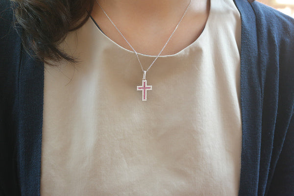 Sterling Silver Cross within Cross Necklace - SDG by Grace