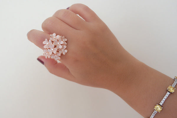 Sterling Silver Flower Bouquet Ring, Rose - SDG by Grace
