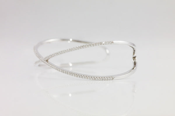 Sterling Silver X Bangle - SDG by Grace