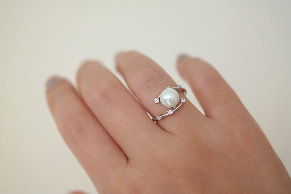 Sterling Silver Nested Pearl Ring - SDG by Grace