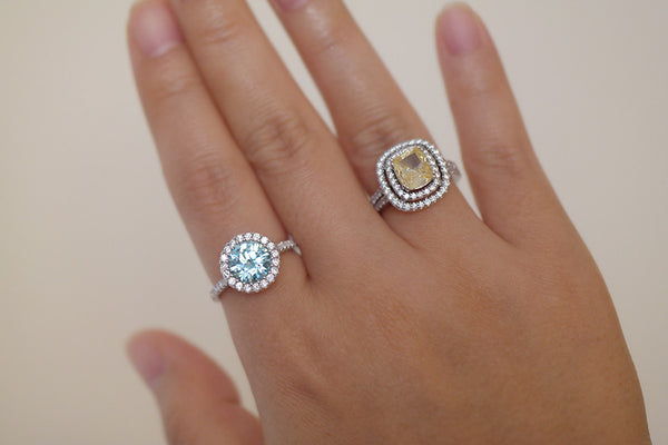 Sterling Silver Aquamarine CZ Halo Setting Ring - SDG by Grace