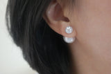 Sterling Silver Crystal Cone Pearl Earrings - SDG by Grace