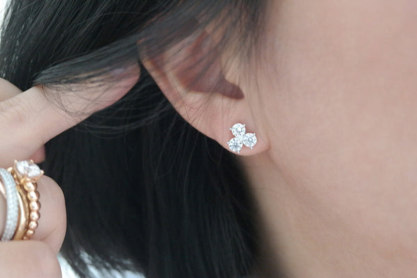 Sterling Silver Small Clover Stud Earrings - SDG by Grace